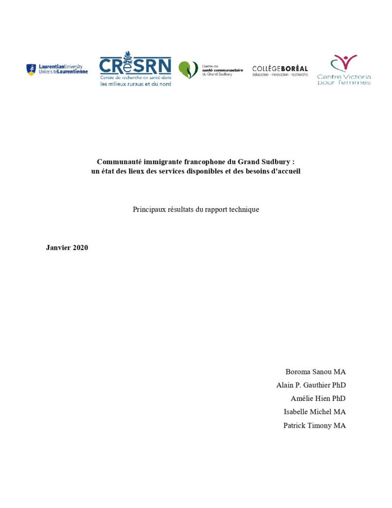 thumbnail of Rapport État des lieux
