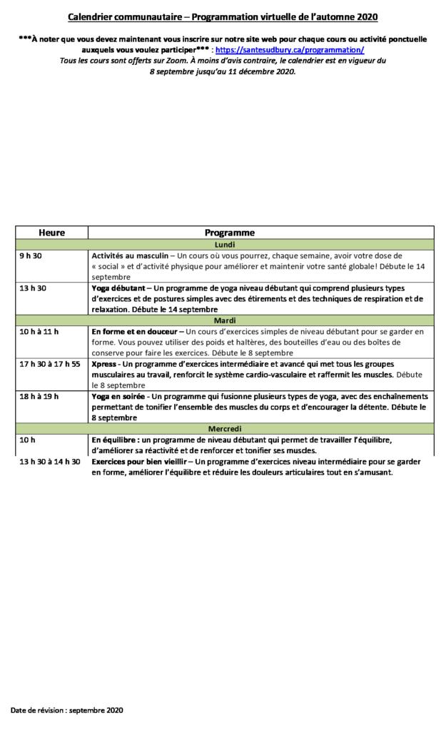 thumbnail of Calendrier de programmation – Automne 2020