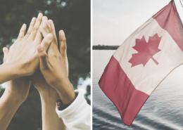 Il y a deux images : celle de gauche est un groupe de personnes qui font un high five. L'image de droite est celle du drapeau du Canada