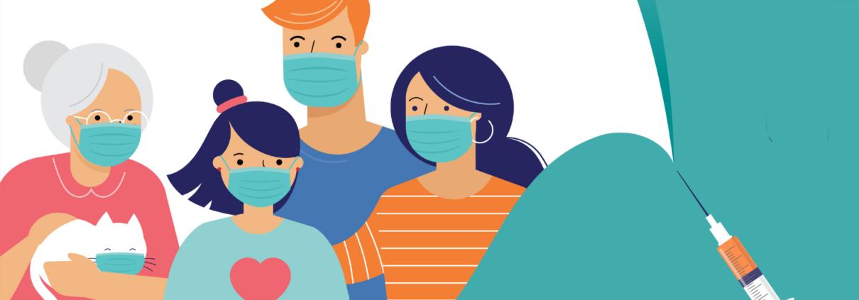 Une famille se tient proche avec des masques. Concept de la vaccination contre la COVID-19