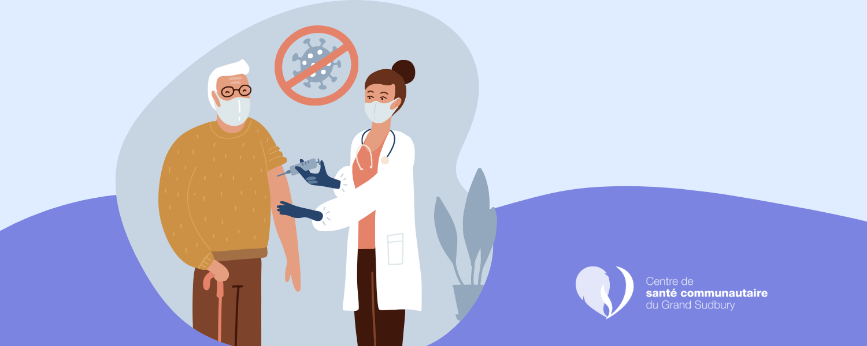 Une image qui illustre un homme âgé qui reçoit son vaccin contre la COVID-19 d'une infirmière